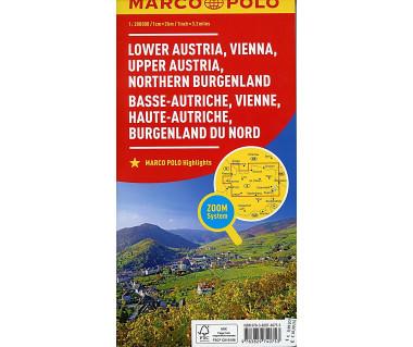 Lower Austria, Vienna, Upper Austria, Northern Burgenland