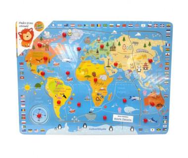 Puzzle drewniane mapa świata z pinezkami - 16 elementów