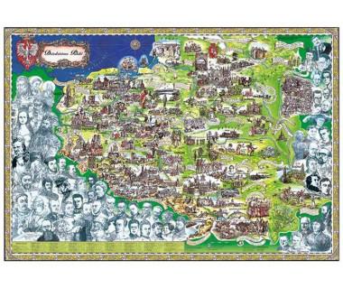 Dziedzictwo Polski mapa malowana (składana)