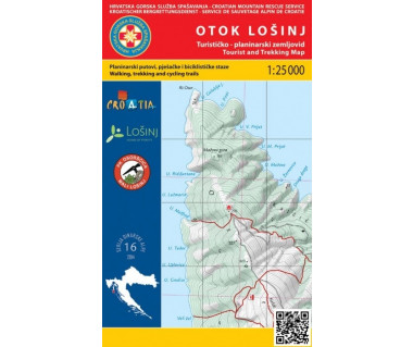 Otok Losinj (wyspa Losinj) tourist and trekking map
