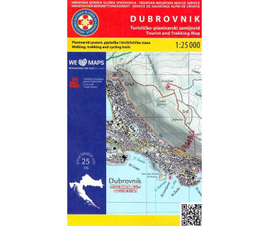 Dubrovnik tourist and trekking map