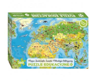 Puzzle Zwierzęta Świata mapa młodego odkrywcy