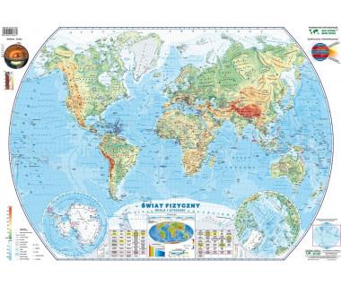 Świat mapa fizyczno-polityczna podręczna laminowana