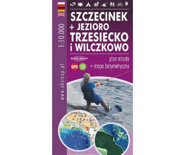 Szczecinek + Jeziora Trzesiecko, Wiczkowo - plan miasta i mapa barymetryczna
