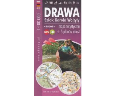 Drawa - szlak kajakowy Karola Wojtyły - mapa turystyczna i 5 planów miast