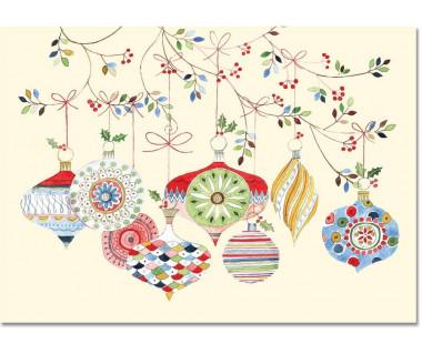 Kartka świąteczna mini Watercolor Ornaments