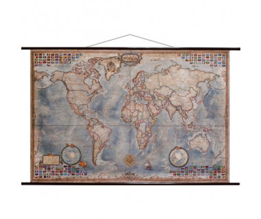 The world antique executive map (z flagami)