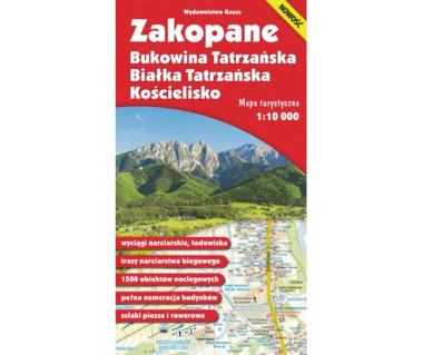 Zakopane. Bukowina Tatrzańska. Białka Tatrzańska. Kościelisko. Mapa Wodoodporna