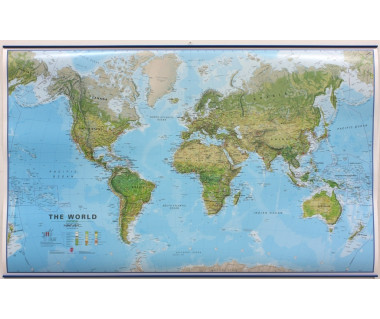 World Map 100x136cm (mapa fizyczna z listwami w tubie)