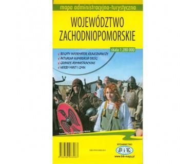 Województwo zachodniopomorskie mapa adminstracyjno - turystyczna