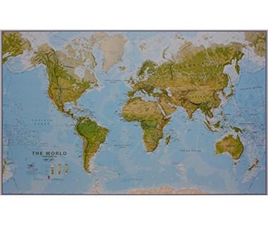World Map 120x195cm (mapa fizyczna papierowa w tubie)
