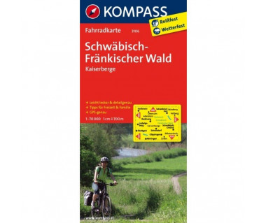 Schwabisch-Frankischer Wald, Kaisergebirge - Mapa laminowana
