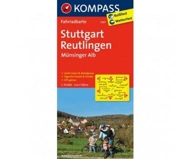 Stuttgart, Reutlingen, Munsinger Alb - Mapa laminowana