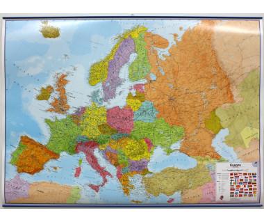 Europe Map 100x139cm (mapa polit. lamin. z listwami w tubie)