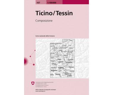 Ticino/Tessin - Mapa turystyczna