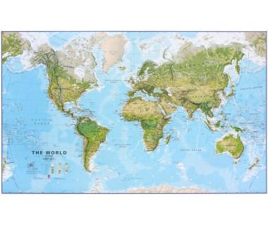 World Map 86x136cm (mapa fizyczna lamin. w tubie)