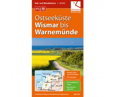 Ostseeküste Wismar bis Warnemünde - Radwanderkarte - Wanderkarte (Blatt 14)