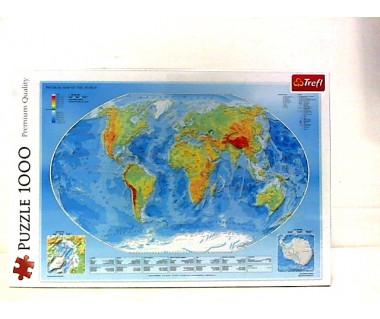 Puzzle 1000 Mapa fizyczna świata