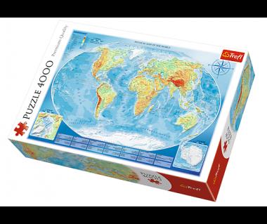 Puzzle 4000 Mapa fizyczna świata