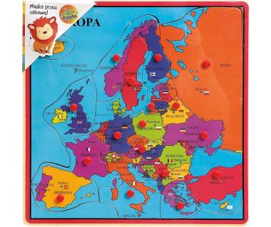 Mapa Europy - puzzle drewniane z pinezkami
