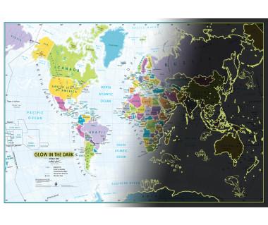 Glow in the dark World Map (Mapa świecąca w ciemności) 84,1x59,4cm