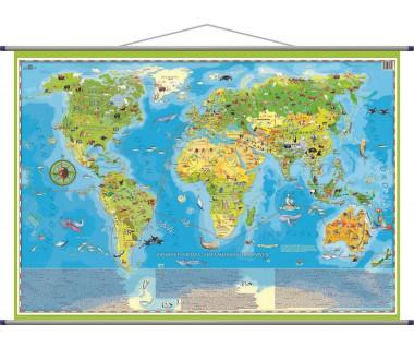 Zwierzęta świata mapa młodego odkrywcy 100x65 cm