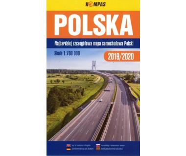 Polska mapa samochodowa z okładką