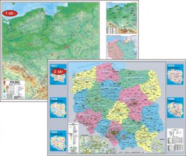 Polska mapa podręczna laminowana