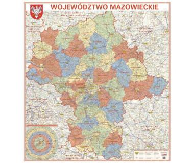 Województwo mazowieckie mapa administracyjno-drogowa 138x150 cm 1:200 000