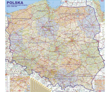 Polska mapa administracyjno-drogowa 117x108 cm 1:600 000