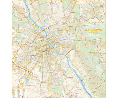 Warszawa plan ścienny 128x134 cm 1:22 500