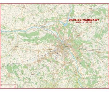 Okolice Warszawy mapa ścienna 118x92cm 1:100 000