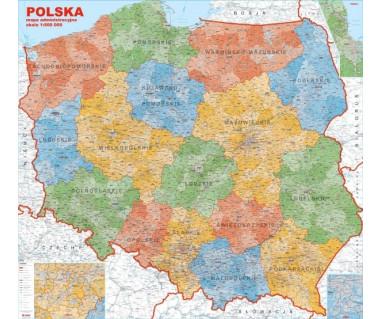 Polska mapa administracyjna 140x130 cm 1:600 000