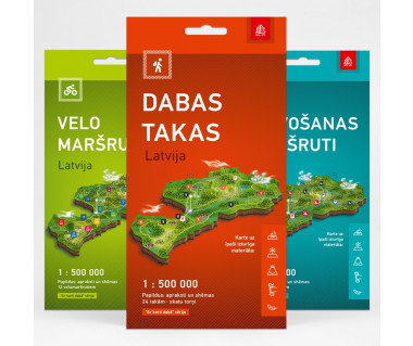 Łotwa mapy turystyczne komplet (rowerowa, kajakowa, ścieżki przyrodnicze)