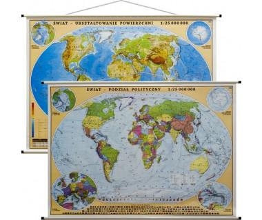 Świat mapa polityczna/fizyczna 140x100 cm