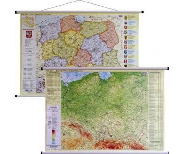 Polska mapa administracyjna/fizyczna dwustronna 100x70 cm