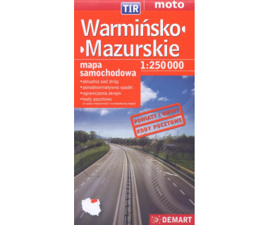 Warmińsko-Mazurskie mapa samochodowa