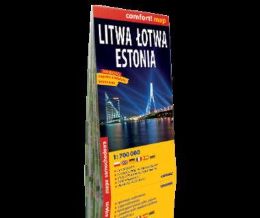 Litwa, Łotwa, Estonia mapa samochodowa laminowana