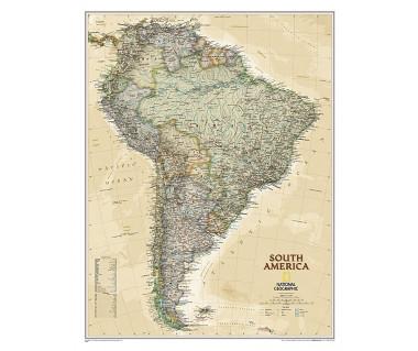 America South pol. antique flat map