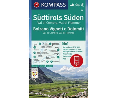 K 74 Wanderkarte Südtirols Süden, Bolzano Vigneti e Dolomiti, Val di Cembra, Val di Fiemme
