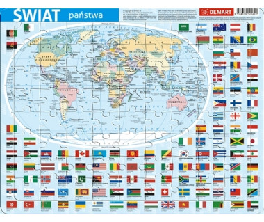 Puzzle ramkowe Świat mapa polityczna