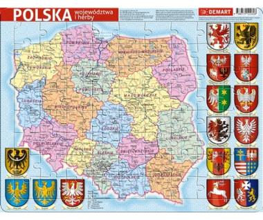 Puzzle ramkowe Polska mapa administracyjna
