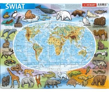 Puzzle ramkowe Świat mapa fizyczna