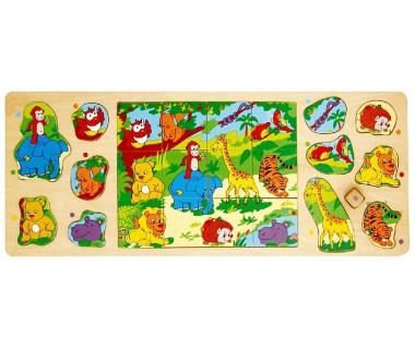 Układanka drewniana - Dzikie Zwierzęta (Puzzle + Układanka)