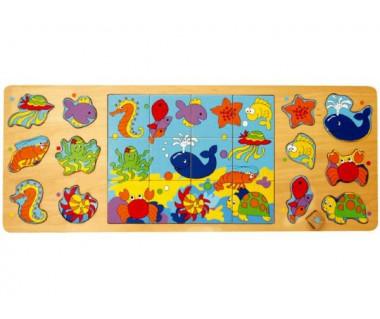 Układanka drewniana - Morskie Zwierzęta (Puzzle + Układanka)