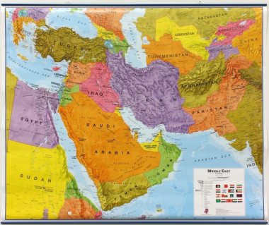 Middle East Map 120x100cm (mapa polit. lamin. z listwami w tubie)