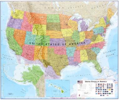 USA political 100x120cm (mapa papier w tubie)