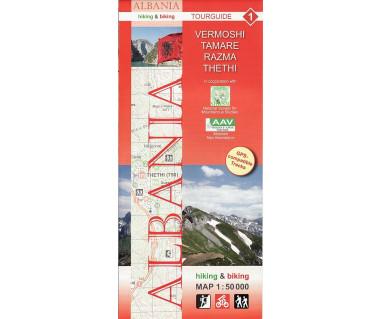 Albania (1) Vermoshi, Tamare, Razma, Thethi map