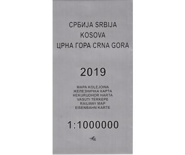 Serbia, Kosowo, Czarnogóra mapa kolejowa