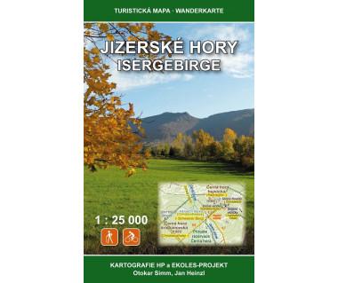 Jizerske Hory, Isergebrge mapa turystyczna